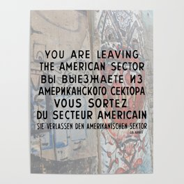 Checkpoint Charlie Signage, Berlin Wall Poster