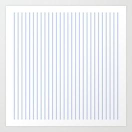 Alice Blue Pinstripe on White Art Print