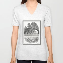 SEASIDE ARCH, BISHOP PINE, AND DRIFTWOOD VINTAGE PEN DRAWING Unisex V-Neck