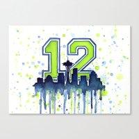 seahawks Canvas Prints featuring Hawks 12th Man Fan Art by Olechka