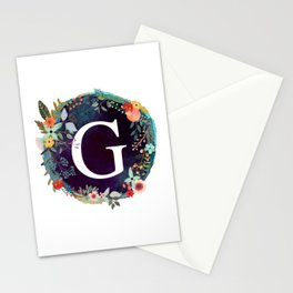Personalized Monogram Initial Letter G Floral Wreath Artwork Stationery Cards