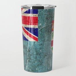 Vintage Aged and Scratched Fiji Flag Travel Mug