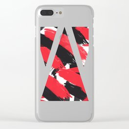 Modern Abstract Black Red Brush Strokes Pattern Clear iPhone Case