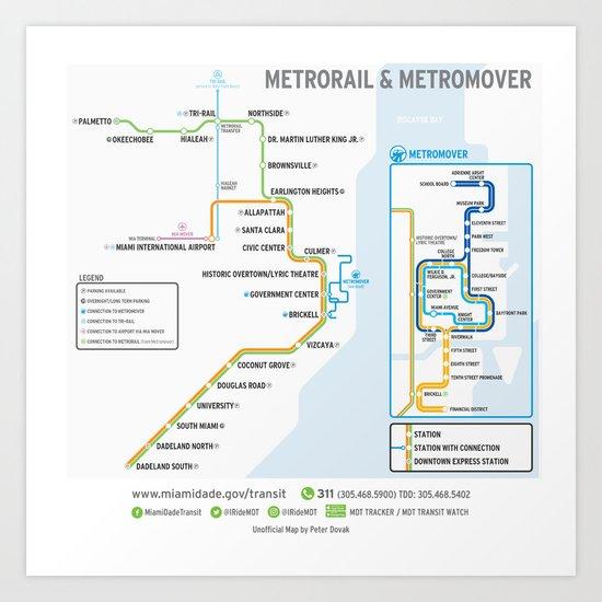 Miami Metrorail & Metromover Map Art Print