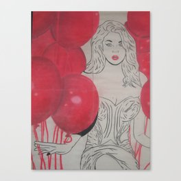 Red Balloon Lady Canvas Print