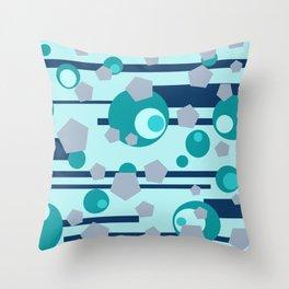 Geometric turquoise grey mix Throw Pillow