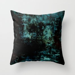 Deep Blue Soul - Black and blue textured abstract Throw Pillow