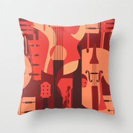 String Music Instrument Pattern Throw Pillow