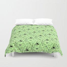 Cryptid Pattern: Black on Green Duvet Cover