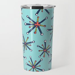 Viruses Resembling Molecules - Retro Modern Microbiology Pattern Travel Mug