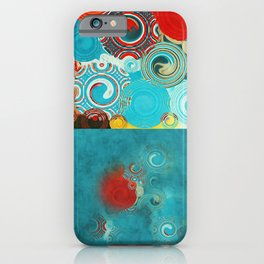 Swirly Red and Turquoise Mosaic iPhone Case