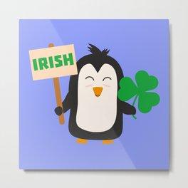 Irish Penguin with shamrock Bjib4 Metal Print