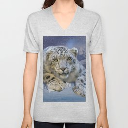 Snow Leopard and Moon Unisex V-Neck