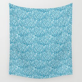 Blue Red Coral Geometric Ocean Aqua Background Wall Tapestry