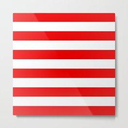 Stripe Red White Metal Print