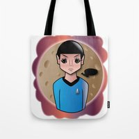 spock Tote Bags featuring Spock by hannahroset