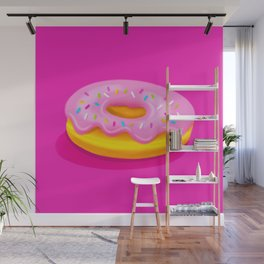 Pink Glazed Donut Wall Mural