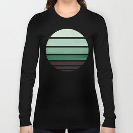 Deep Green Mid Century Modern Minimalist Circle Round Photo Staggered Sunset Geometric Stripe Design Long Sleeve T-shirt