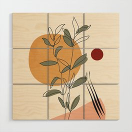 Minimal Line Young Leaves Wood Wall Art