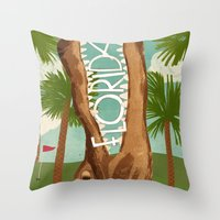 florida Throw Pillows featuring Florida by Santiago Uceda