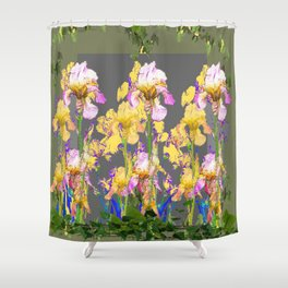 SPRING IRIS GARDEN FLORAL & IVY PATTERN DESIGN Shower Curtain