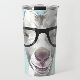 Goat with Glasses, Cute Farm Animal Travel Mug