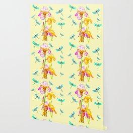 GOLDEN PURPLE IRIS & BLUE DRAGONFLIES Wallpaper