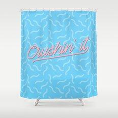 Crushin It Blue Squiggles /// www.pencilmeinstationery.com Shower Curtain