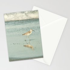 Exit Stage Right -- Willet Foraging Shallow Surf at the Beach Stationery Cards