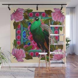 GREEN PEACOCK & PINK ROSE  FLOWERS CREAM ART Wall Mural