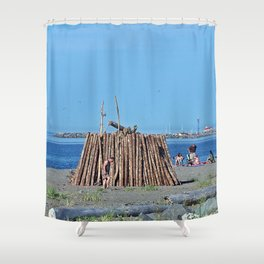 Extreme Bonfire on the Beach Shower Curtain