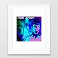 spock Framed Art Prints featuring SPOCK by Saundra Myles