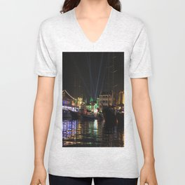 Marmaris Marina Nightscape Unisex V-Neck