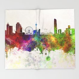 Tianjin skyline in watercolor background Throw Blanket