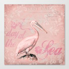 Retro Pelican Vintage old style illustration Canvas Print