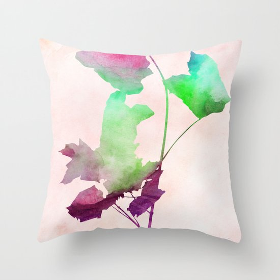 maple 2 watercolor by Jacqueline Madonado & Garima Dhawan Throw Pillow