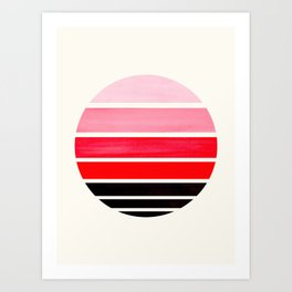 Red Mid Century Modern Minimalist Circle Round Photo Staggered Sunset Geometric Stripe Design Art Print