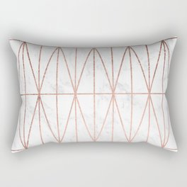 Modern geometric triangles faux rose gold pattern on white marble Rectangular Pillow