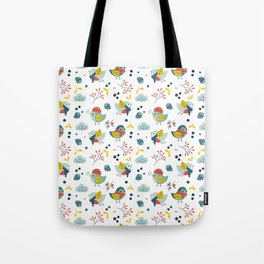 winter birds pattern Tote Bag