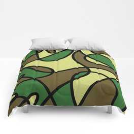 Camo Curves - Abstract, camouflage coloured pattern Comforters