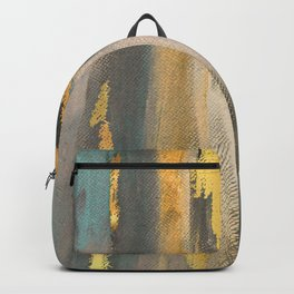 Colorful Paint Brushstrokes Gold Foil Abstract Texture Backpack