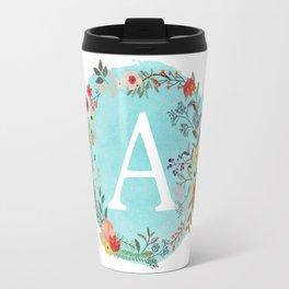 Personalized Monogram Initial Letter A Blue Watercolor Flower Wreath Artwork Travel Mug