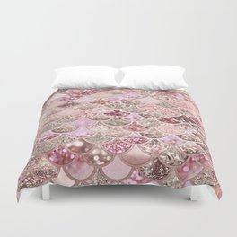 Rose Gold Blush Glitter Ombre Mermaid Scales Pattern Duvet Cover