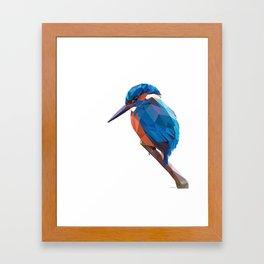 Kingfisher - Low poly digital art Framed Art Print