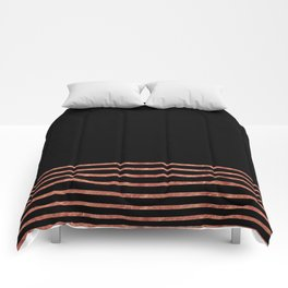 Black and Copper Stripes Comforters