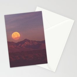 SuperMoon Setting Over Mountains Stationery Cards