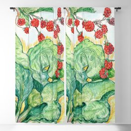 Rhubarb and Raspberries Blackout Curtain