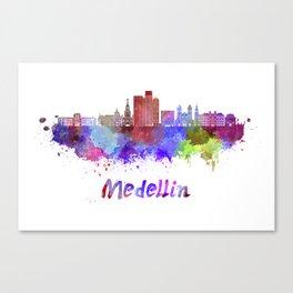 Medellin skyline in watercolor Canvas Print