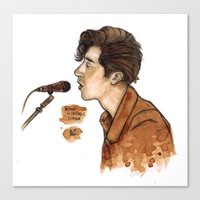 alex turner Canvas Prints featuring Alex Turner  by The vintage icon