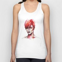 rihanna Tank Tops featuring Rihanna by Allison Kunath